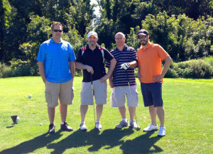 A rare moment out on the links; The GolfStinks crew from left: Stinky Golfers Pete, Chris, Tom & Greg