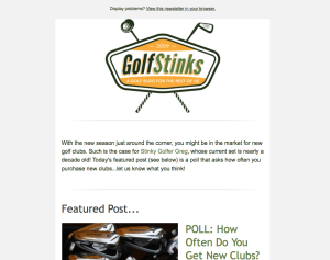 Subscribe to the GolfStinks Newsletter